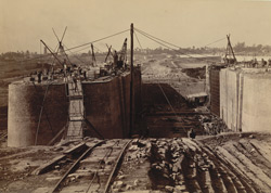 Double Entrance from Half Tide Basin to Dock, showing Gates in position, Calcutta Docks